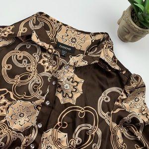 Bebe Brown Silk Elbow Length Blouse - medium